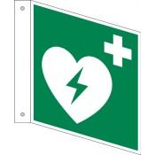 Fahnenschild Defibrillator Langnachleuchtend